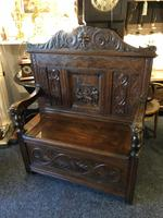 Victorian Antique Green Man Carved Oak Settle / Hall Seat / Monks Bench (3 of 10)