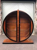 Art Deco Walnut & Ebonised Round Display Cabinet (4 of 11)