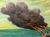 "Large Seascape Oil Painting WW2 Battle ""HMS Battleship Hood The Last Moments"" (6 of 12)"