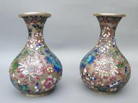Pretty Pair of Chinese Cloisonne Champleve Vases (7 of 9)