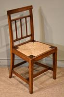 George III Elm Dining Chairs with Rush Seats (6 of 7)