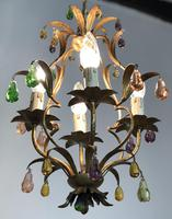 Vintage French Gilt Toleware & Murano Style Chandelier (6 of 13)