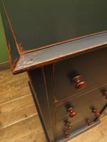 Antique Black Painted Writing Desk with Drawers (7 of 16)