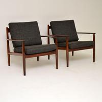 1960's Pair of Danish Rosewood Armchairs by Grete Jalk (10 of 12)