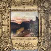 Antique Victorian signed oil painting river landscape at sunset in gesso frame (7 of 8)