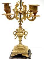 Superb Antique French Ormolu Mantel Candelabra Clock Set Embossed Decoration Finial 8 Day Striking (7 of 15)