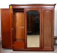 Wardrobe Triple Compactum Wardrobe Victorian Mahogany (2 of 12)