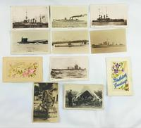 WW1 and WW2 Postcards Submarines, Boats & Embroidered. Photographic
