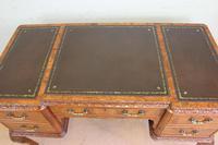 Quality Burr Walnut Kneehole Writing Desk (4 of 15)
