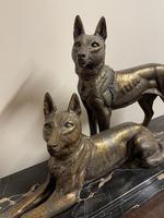 Art Deco Spelter German Shepherd Dogs On Marble Base (3 of 7)