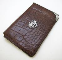 Antique Victorian Solid Sterling Silver Mounted & Crocodile Skin Leather Wallet Purse Stamp Name Card Case 1896