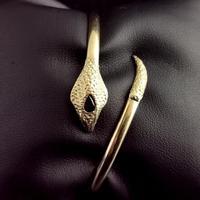 Vintage 9ct Gold Snake Bangle, Garnet (11 of 13)