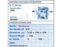 5.72ct Aquamarine & Diamond 15ct White Gold Dress Ring - Vintage c.1950 (6 of 9)
