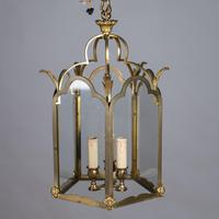 Large French Brass & Glass Hall Lantern (2 of 4)