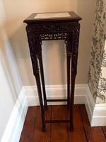 Tall Chinese Hardwood Jardinière Plant Stand with Marble Top (7 of 11)