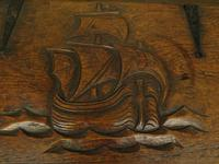 Antique Oak Chest with Carved Ship Detail to Lid Maritime Nautical Storage Chest (11 of 14)