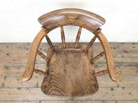 Antique Ash and Elm Smoker's Bow Chair (m-2303) (2 of 10)