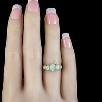 Antique Edwardian Opal Five Stone Ring 18ct Gold Dated 1908 (6 of 6)