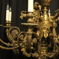 French Gilded Bronze 12 Light Antique Chandelier (3 of 12)