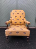 English Walnut Upholstered Armchair for recovering (4 of 8)