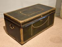 19th Century Camphor Leather Travelling Trunk (4 of 7)