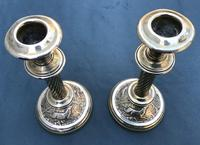 Pair of Victorian Brass Candlesticks with Hunting Scene Bases (6 of 6)
