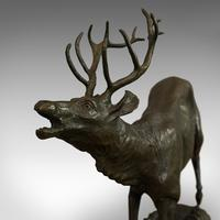 Antique Stag Bronze, French, Deer, Elk, Prosper LeCourtier, Victorian c.1900 (5 of 12)