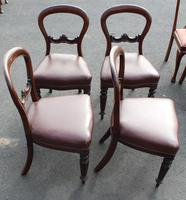 1900's Mahogany Set 4 Balloon Back Dining chairs Leather Seats (2 of 3)