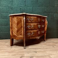 Beautiful French Louis XVI Style Tulip wood marble top commode (10 of 12)