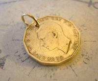 Vintage Pocket Watch Chain Fob 1945 WW2 King George V1 Threpenny Bit Coin Fob (5 of 6)