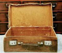 Antique 19th Century Small Brown Leather Suitcase (3 of 6)