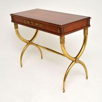 Antique Neoclassical Walnut & Brass Writing / Side Table (6 of 16)