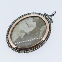 Antique Edwardian Paste Large Silver and Rose Gold Oval Locket Pendant in Box / Boxed (5 of 10)