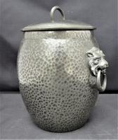 Liberty & Co Tudric Pewter Biscuit Jar, Number 01065, Lion Handles c.1910 (2 of 8)