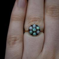 Antique Natural Opal & Red Paste Flower Cluster 9ct 9K Gold Ring (4 of 9)