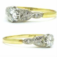 Art Deco 18ct Platinum Old Cut Diamond Solitaire Engagement Ring 0.35ct c.1920 (3 of 11)
