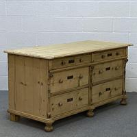 Antique pine sideboard with a bank of 6 drawers (2 of 5)