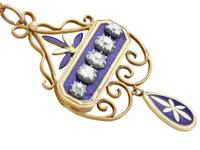 1.89ct Diamond and Enamel, 15ct Yellow Gold & Silver Pendant - Antique Victorian (5 of 12)