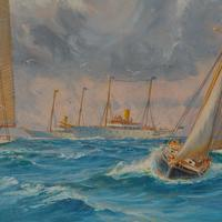 A rare painting of 1930 America's Cup racing off Newport, signed 'Harold Wyllie' (10 of 12)