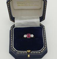Emerald cut Ruby and Diamond Trilogy  Ring (2 of 5)
