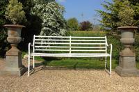 English Regency Wrought Iron Strapwork Garden Bench (7 of 9)