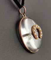 Antique Victorian Rock Crystal Pendant Gold Horseshoe, Split Pearl (11 of 14)