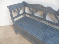 Lovely Grey / Blue 3-4 Seater Antique Pine Kitchen / Hall Box Settle / Bench (2 of 10)