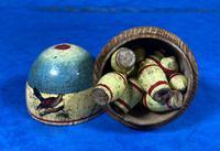 19th Century Skittles Game in Tunbridge Ware White Wood Painted Egg (11 of 21)