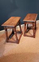 Matching Pair of Antique Oak Joint Stools (3 of 7)