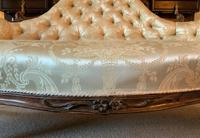 Stunning Quality Original 19th Century Carved Rosewood Cream Upholstered Sofa Settee (9 of 11)