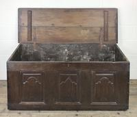 Antique 18th Century Oak Coffer with Carved Detail (8 of 12)