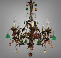 Murano Glass a Fruit Venetian 6 Arm Toleware Ceiling Light Chandelier (7 of 9)