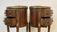 French Marquetry Bedside Tables Oval Cabinets with Marble Tops (8 of 12)