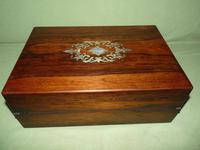 Inlaid Rosewood Writing Box - Extended Office Section c.1870 (10 of 16)